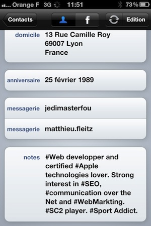 Synchroniser ses contacts iphone avec Facebook