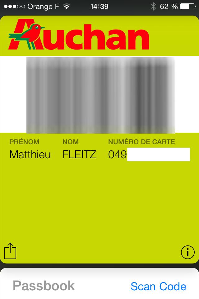 Carte Auchan Wallet.Utiliser Simplement Sa Carte Auchan Dans Passbook Ios