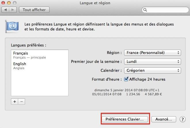 Préférences Clavier Mac OS X