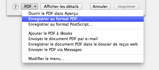 Raccourci «Enregistrer au format PDF» sur Mac OS X