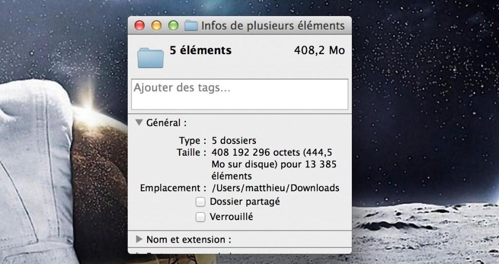 Propriétés de plusieurs fichiers à la fois sur Mac
