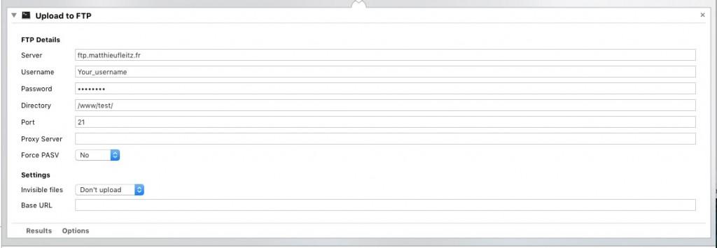 Upload FTP avec les actions de dossier