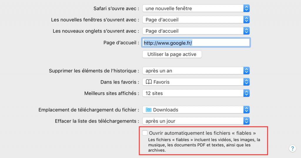 Empêcher Safari de dé-zipper automatiquement vos téléchargements