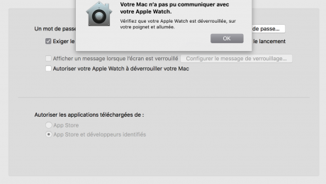 Votre Mac n'a pas pu communiquer avec votre Apple Watch