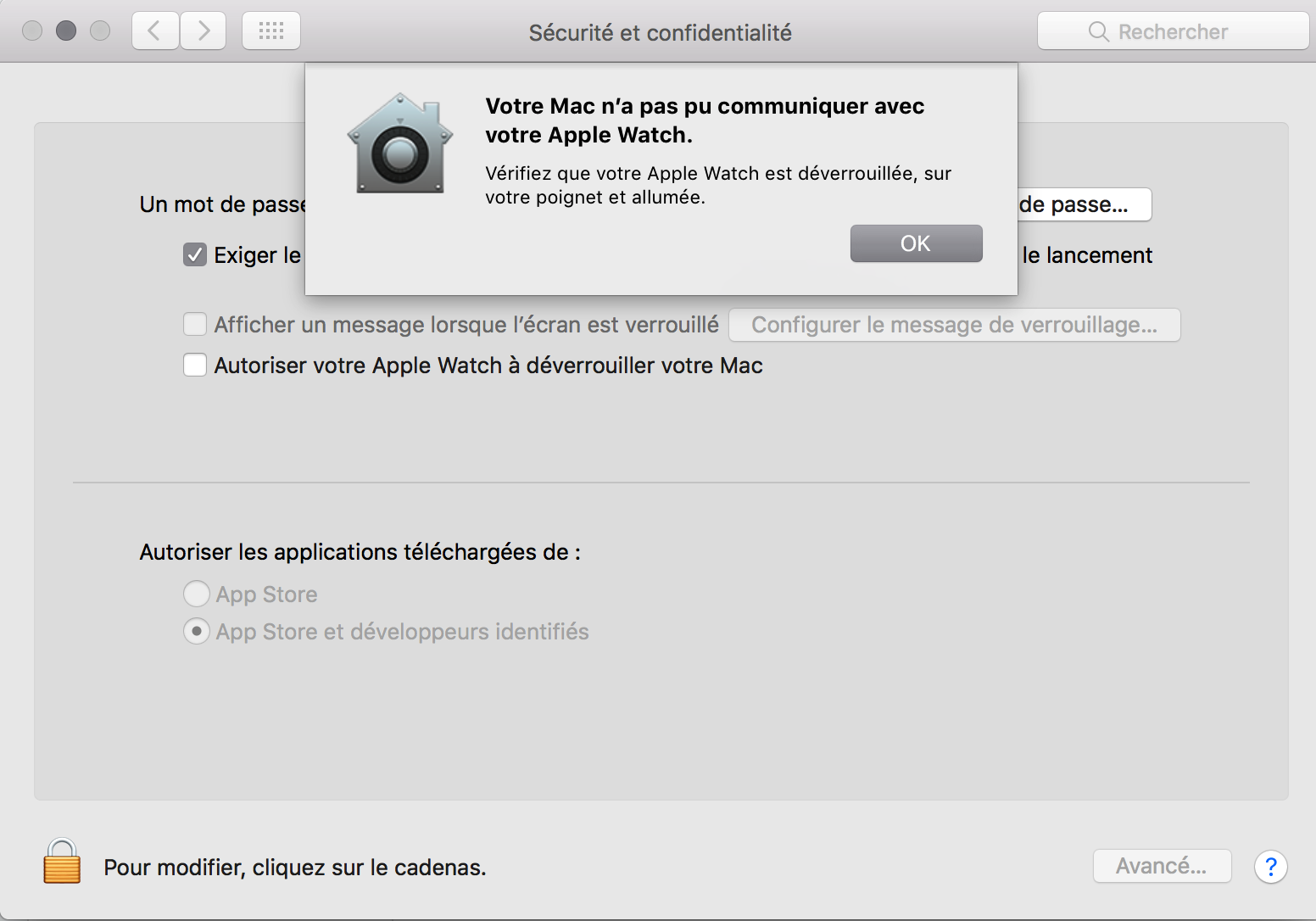 Votre Mac n'a pas pu communiquer avec votre Apple Watch.