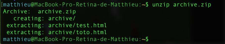 Dezipper un fichier avec le terminal sur macOS