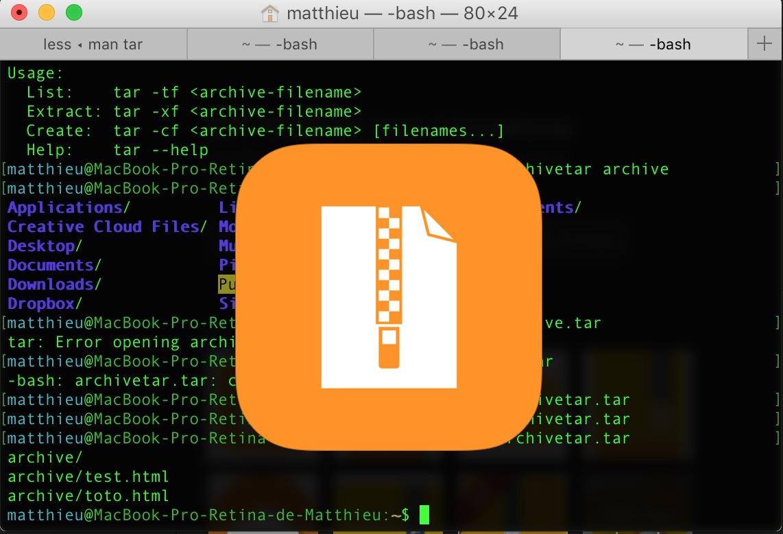 Utiliser le terminal pour desarchiver des fichiers tar ou zip