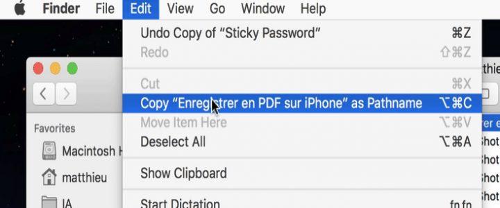 Copier le chemin d'un fichier dans macOS