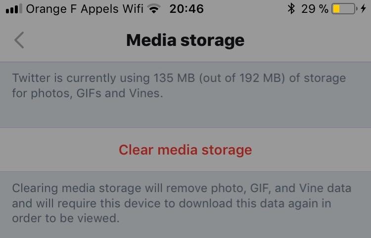 Supprimer le cache de Twitter sur iOS